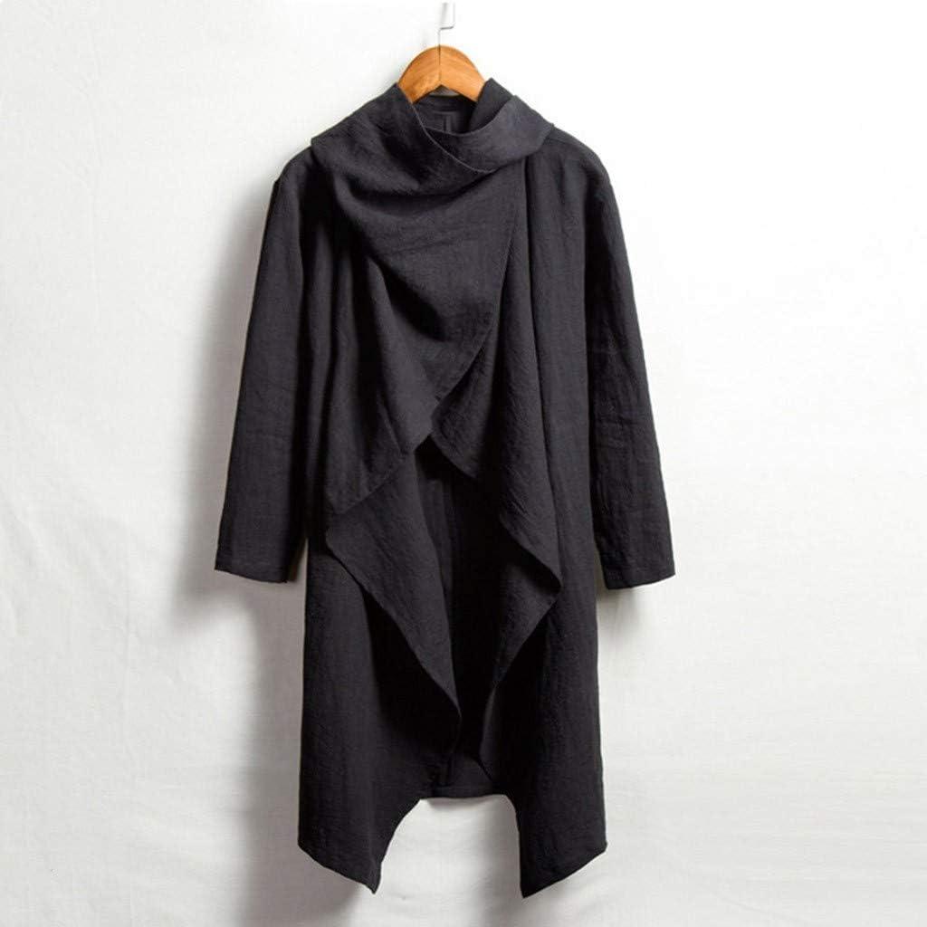 HOTSELL〔◕ღ◕〕Mens Cape Cardigan Casual Funnel Neck Coat Irregular Open-Front Long Sleeve Spring Retro Cardigans Men Adult Costume Cardigan