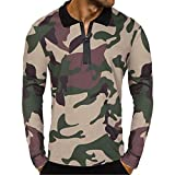 NEARTIME Men Blouse, 2018 Fashion Men Casual Zipper Camouflage Tops Long Sleeve Pullover Classic Print Loose Shirt