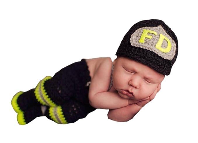 15fc97100 Pinbo® Baby Photo Prop Crochet Firefighter Fireman FD Hat Pants Suspenders