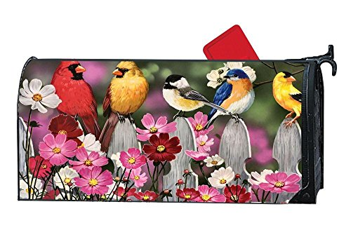 (Mailbox Covers and Wraps, Personalized Decorative Mail Wrap Covers for Standard Metal/Steel Mailboxes - Bluebird Cardinal Goldfinch Songbirds Cosmos)