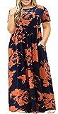 3X Maxi Dresses for Women Plus Size Floral Print High Waist Long Dress Navy Orange