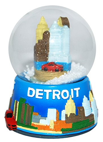 Detroit Michigan Collectible LARGE Snow Globe souvenir featuring the Detroit