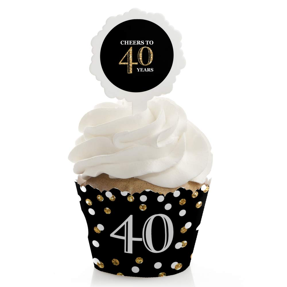 Birthday Party Decorations Party Cupcake Wrappers Adult 40th Birthday Gold