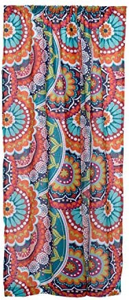 Levtex Home – Serendipity – Window Panel with Rod Pocket – One Curtain Panel 84 inch Length – Mandalas – Orange, Turquoise, Green, Red, Citron, Yellow, Blue – 100 Cotton – Lined