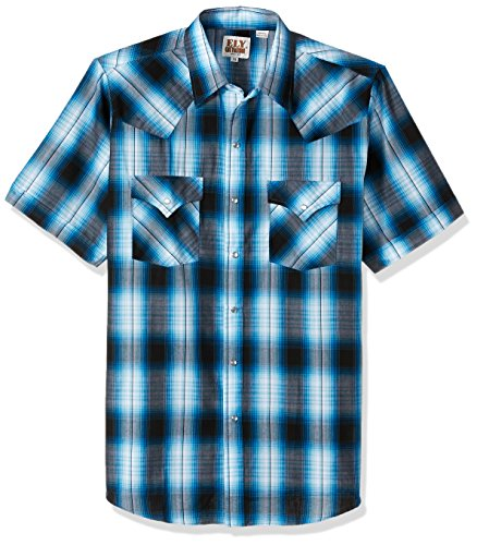 Ely & Walker Men's Short Sleeve Plaid Western Shirt, Turquoise, X-Large