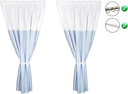Vizaro - RIDEAUX pour CHAMBRE de BÉBÉ | ENFANT (2x) Set (2x) (155x155cm) -  100% COTON - Fabriqué UE pas de substances nocives - C. Bleu Et Blanc