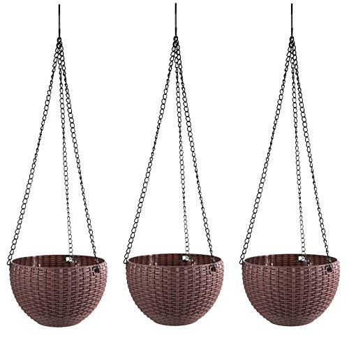 (hortiHaven Hanging Planter Baskets with Water Spray Bottle (3 Pc. Set) Cute Plant & Flower Pot | Indoor or Outdoor, Removable Drain Plug | Home, Patio, Kitchen Decor (Brown))
