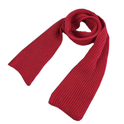 CY Toddlers Infant Babys Winter Scarf Kids Solid Color Knitted Scarves Winter Warm Scarf Red