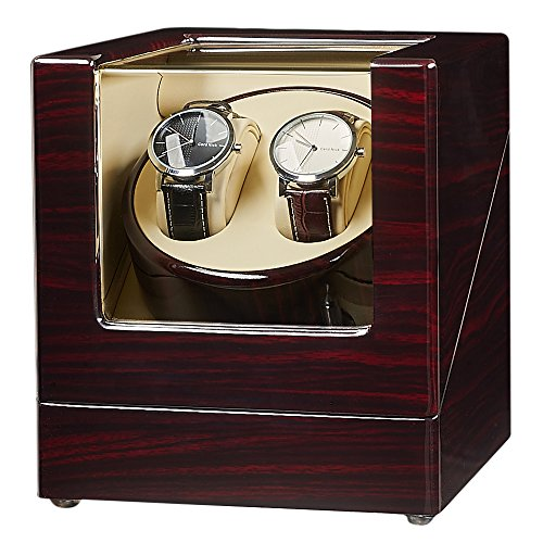 JQUEEN Double Watch Winder with Quiet Japanese Mabuchi Motor (A-Ebony) ()