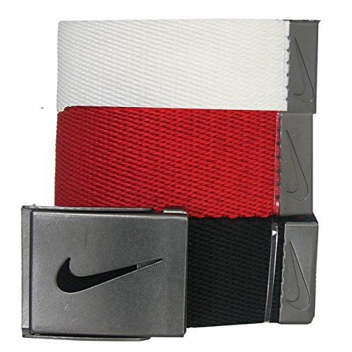 [Nike Men's SG 3-Pack Webbing Belts, Red/White/Black, One Size] (Silver Tone Buckle)