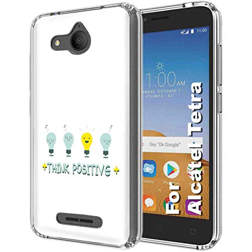 Alcatel Tetra Deluxe Phone Case by [TalkingCase], Clear Premium Thin Gel Phone Cover, Ultra Flexible Slim TPU Case for Tetra from AT&T, Cricket [Think Positive Light Bulb] Print, Designed in -