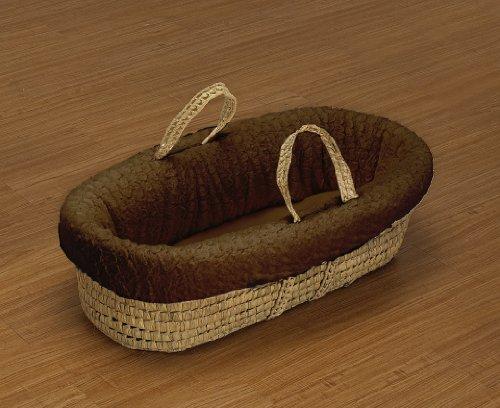 Baby Doll Bedding Sheepskin Moses Basket Set, Chocolate