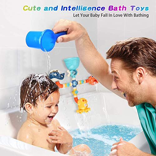 Bath Toys for Toddlers 1 2 3 4 5 Years Old Boys and Girls, Kids Bathtub Toy DIY Pipes with Spinning Gear Rotating Cute Waterfall Fun Water Spout for Baby Bath Time Birthday Gift Ideas Color Box