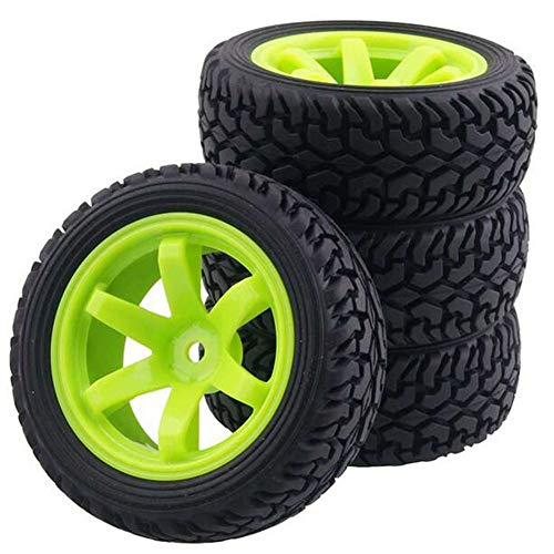 (LAFEINA 1:10 Rally Car 75mm Rubber Tires and 6 Spokes Green Plastic Wheel Rims for 1/10 Scale HSP 94123 HPI Kyosho Tamiya RC On Road Car(Black))