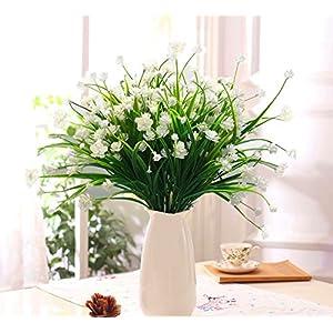 LoveniMen Artificial Camellia Flowers, Plastic Daffodils Fake Plants Wedding Bridal Bouquet Party Indoor Outdoor DIY Home Garden Verandah Corridor Table Arrangements Decoration - White 8pcs 4