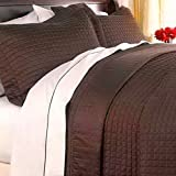 Modern Reversible Lightweight Solid Brown Quilt Coverlet Set King/Cal King Size