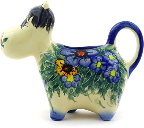 Polish Pottery Cow Shaped Creamer 5 oz (Spring Bouquet Theme) Signature (Bouquet Creamer)