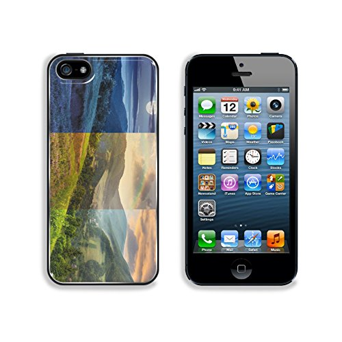 Hillside Village (Liili Premium Apple iPhone 5 iphone 5S Aluminum Backplate Bumper Snap Case IMAGE ID 35112 day and night composite mountain landscape flowers on hillside meadow near village in foggy mountain)