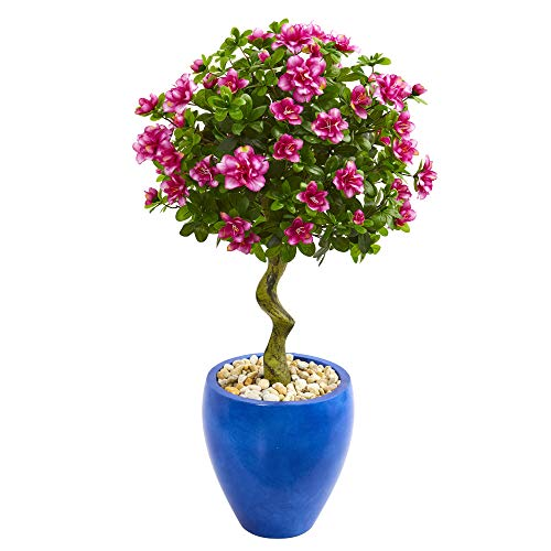 Nearly Natural 9300 39-in. Azalea Artificial Topiary Blue Planter Silk Trees Pink