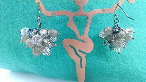(Labradorite, crystal cluster earrings)