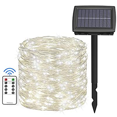 Asmader Solar and Battery Powered Outdoor String Lights, 66 ft 200 LEDs IP67 Waterproof 8 Modes RF Remote Copper Wire White