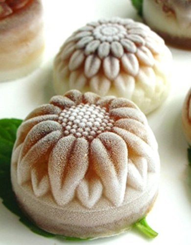 Pieces 6 Cavity Silicone Flower Soap Mold Chrysanthemum Sunflower Mixed Flower shapesCupcake Backing mold Muffin pan Handmade soap silicone Moulds 7 Dimensions:28*16.5*3CM Cavity Size:7.5*3cmNon-stick&Flexible: Pop out easily with smooth surface. Temperature Safe from -104 to +446 degrees Fahrenheit (-40 to +230 degrees Celsius) Safe use in Microwave, Oven, Refrigerator, Freezer and Dishwasher . 3 Different 3D Flower Pattern- can be used to make cupcakes, muffins, mini cakes, cake pops, cookies, lollipops, chocolates, breads, mini quiches and potpies, pudding and more! You can even use them as a tray to make uniquely shaped soap or ice.