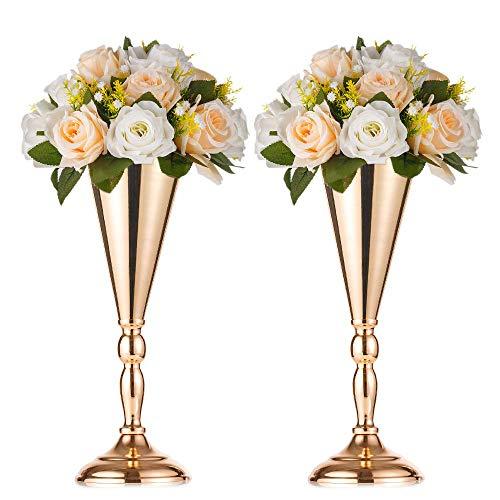 2 Pcs Set Metal Wedding Flower Trumpet Vase Stand Table Decorative Centerpiece Artificial Flower Arrangements for Anniversary Ceremony Party Birthday Event Aisle Home -