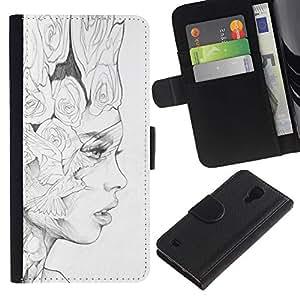KingStore / Leather Etui en cuir / Samsung Galaxy S4 IV I9500 / Negro Lápiz Mujer Fashion Art;
