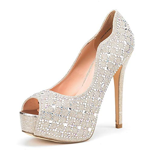 DREAM PAIRS Women's Swan-25 Shine Gold High Heel Platform Dress Pump Shoes - 11 M US (High Sexy Casual Heel Shoe)