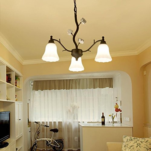 3 Chandelier Light Countryside - ChuanHan Pendant Lighting Fixture Pendant Lamps Contemporary Modern Iron Pastoral Countryside Chandelier Ceiling Light Lamps Living Room Bedroom Dining Room Study Lamp, A-3 Heads