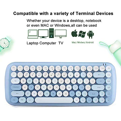 Wireless Keyboard Mouse,Onlywe Mini 2.4G Wireless Round Punk Cute Candy Colors Keyboard and Optical Mouse Set Home Office Use Compatible with Notebook,Desktop,Mac,Win XP/7/8/10 (Blue Keyboard Mouse)