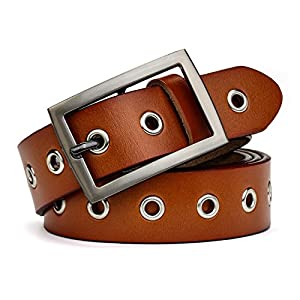 "Leather Belt for Women Girls Waist Belt Alloy Buckle 1.1"" Width Adjustbable Suitable for Different Waistline … (XL, Brown2)"