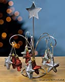 Silver Metal Star Ornament Stand - 5 Hanging Arms with Silver Star on Top - Christmas Ornament Tree - Ornaemnt Display Stand