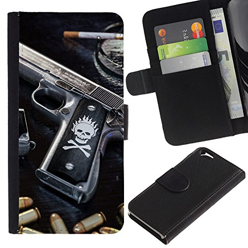 Bullet Oregon - OREGON-X (Not For IPHONE 6 PLUS) Terrific Front Picture Leather Card Slots Pouch Wallet Protection Hard Case Black Cover For Apple Iphone 6 4.7 - SKULL KILLER GANGSTA GUN & BULLETS