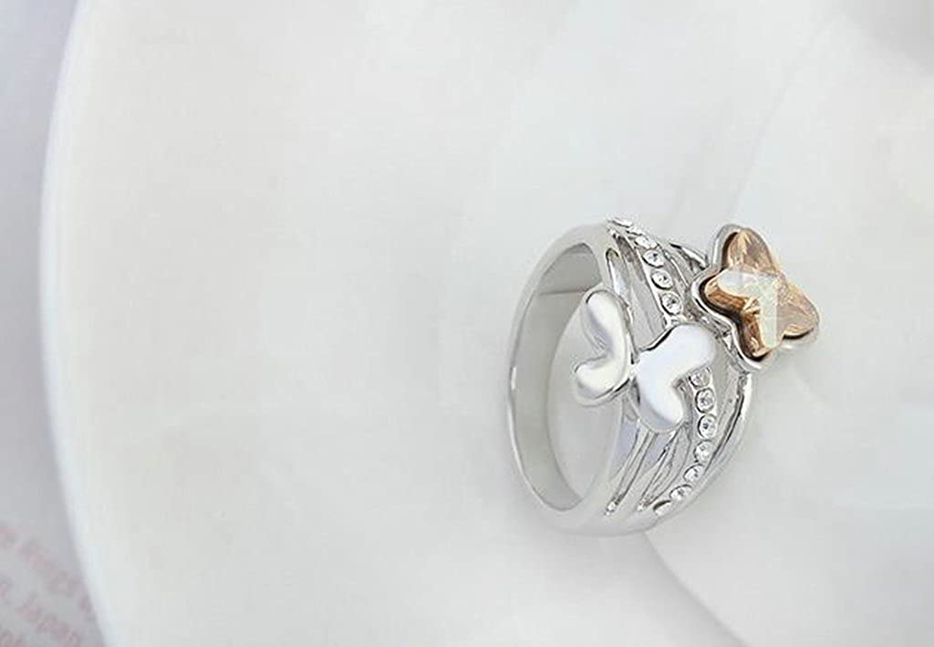 Epinki Gold Plated Ring Womens Wedding Bands Double Butterfly Crystal Inlaid Double Butterfly Ring
