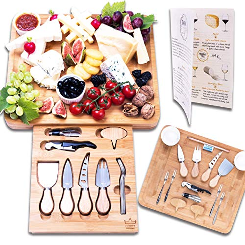 Luxury Dining 16-piece Cheese Charcuterie Board and Knife Cutlery Set, Wooden Platter Tray, Natural Bamboo, Best Thanksgiving, Housewarming Idea