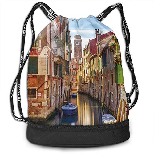 Zhangyi Venice Cityscape Narrow Water Canal Building Drawstring Backpack Sports Gym Cinch Sack Bag for Gym Traveling Gymsack Sackpack ()