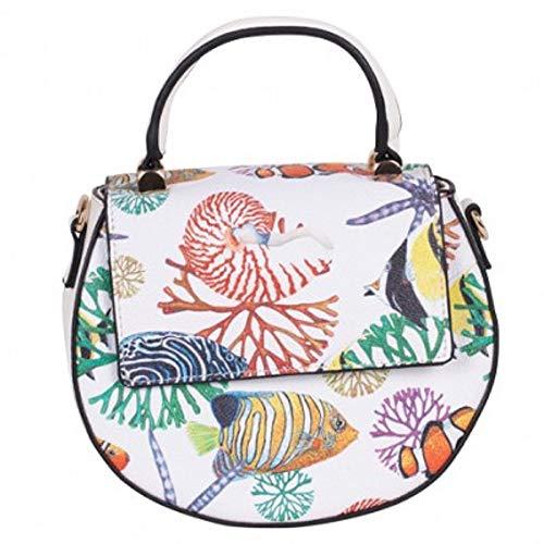 - SIMON CHANG Womens Floral Printed College Bag,Stylish & Light Weight Ladies HandBag White