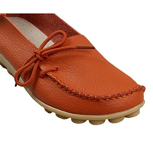 orange Mordenmiss Solid Casual Loafer Leather Shoes Moccasins 1 Color Women's Style 6v6wrqU