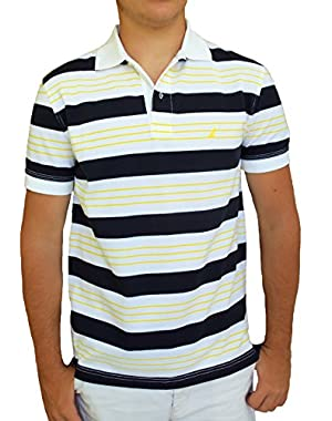 Men's Pique Alternating Large & Mini Stripe Polo Shirt