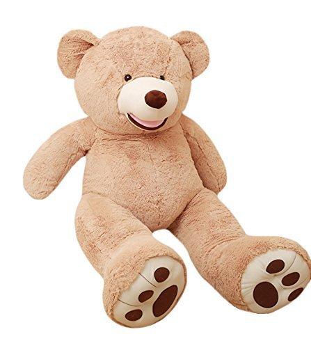 Big Teddy - DOLDOA Big Teddy Bear Stuffed Animals with Footprints Plush Toy for Girlfriend Brown 51 inch