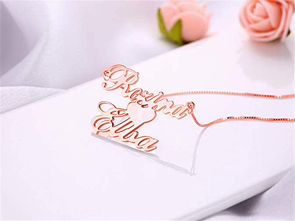 Meеt U Custom Handmade Name Nameplate Necklace Pendant with Heart Personalized Any Name Necklace for Women