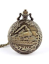 Train Brass Rib Quartz Pocket Watch, SUPPION Unisex Antique Watch Chain