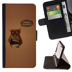 Momo Phone Case / Flip Funda de Cuero Case Cover - Serious Owl;;;;;;;; - LG Nexus 5 D820 D821