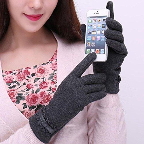 Guantes calientes para Mujeres,Ouneed ® Moda para mujer invierno guantes caliente al aire libre para la conducción deportiva Gris