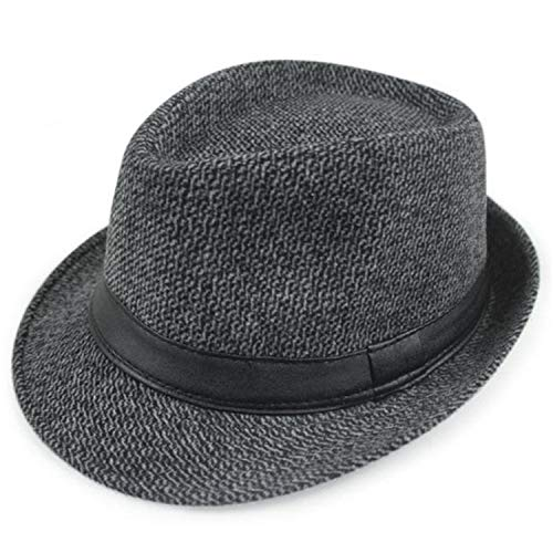Herringbone Fedora Hat Men Cotton British Style Panama Hats Vintage Women Spring Autumn Hats,Grey Plaid Hat