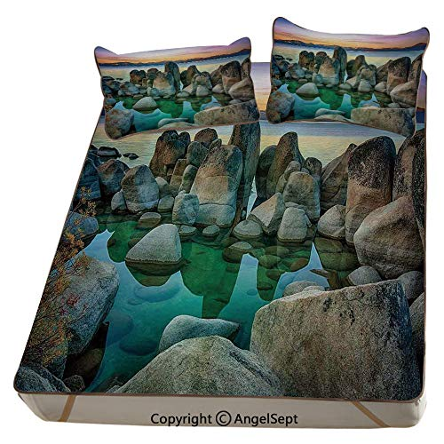 - Lake,Summer Cooling Mat 3D Printing Foldable Folding Summer Ice Silk Cover Cool Mat with Pillowcase(Queen) Various Sized Condensed Rocks in River at Evening Time When Lights Down Marine Theme