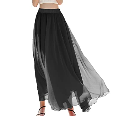 a546ac0c35569 Womens Black Elastic Swing Maxi Beach Chiffon Long Summer Flowie Skirt High  Waisted Boho Long Skirts