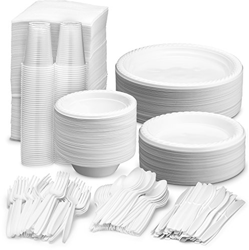 Disposable Dinnerware Set - Serves 100 - White Party Supplies - Includes 6'' & 9'' inch Plastic Plates, 12 oz. Bowls, 7 oz Cups, Forks, Knives, Spoons, Napkins]()