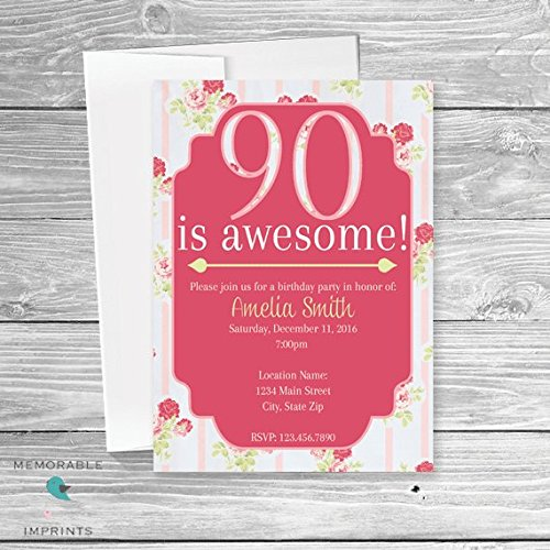 Amazoncom Set of 10 90th Birthday Invitation 90 Is Awesome